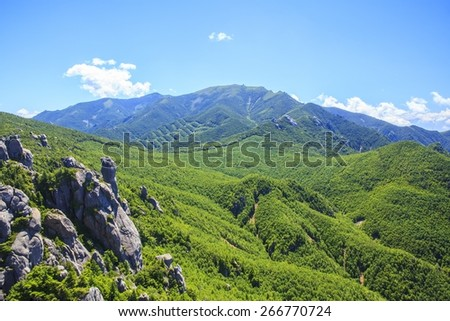 Crag Mountain seen from Mt. Mizugaki, Japanese Mountain - stock photo