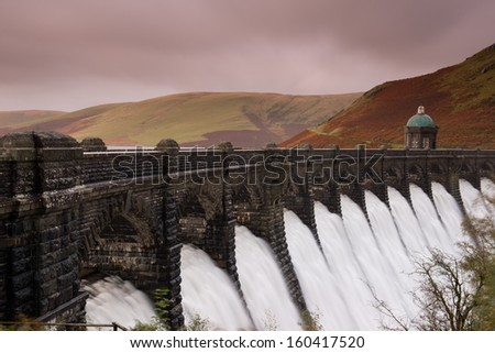 Craig Goch dam  ,Elan Valley, Wales. - stock photo