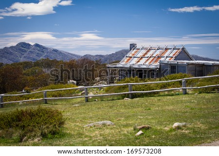 Craig's Hut (as seen in the Man from Snowy River movie) in the Victorian alps, Australia - stock photo