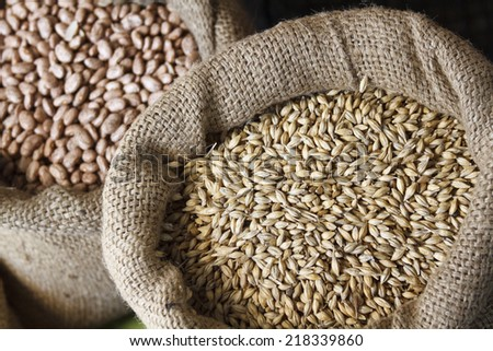 Crain food in jute sack - stock photo