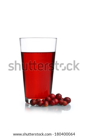 Cranberries and Cranberry juice cutout, isolated on white background - stock photo