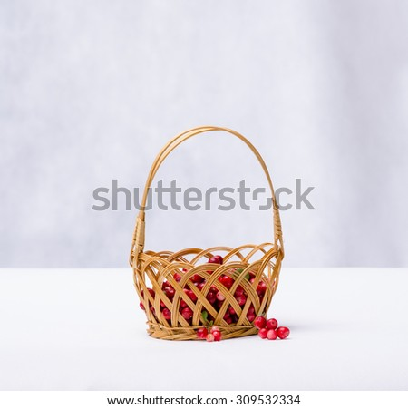 cranberries in a wicker basket on a white background - stock photo