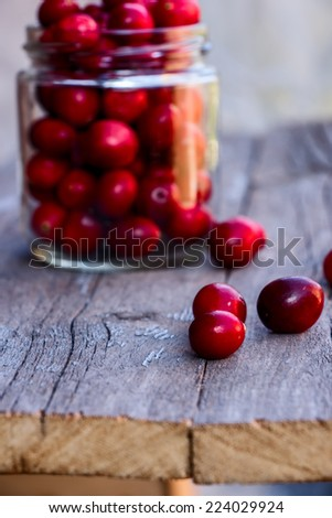 Cranberries on wooden background, selective focus - stock photo