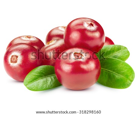 Cranberries with leaves isolated on white Clipping Path - stock photo