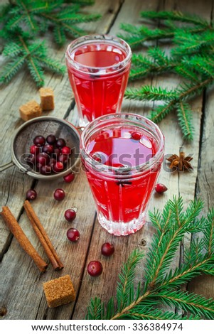 Cranberry drink for winter and Christmas with spices - stock photo