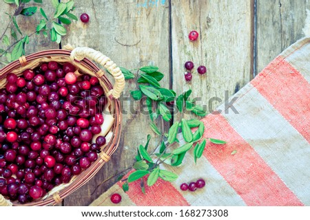 cranberry in a basket on a wooden background - stock photo