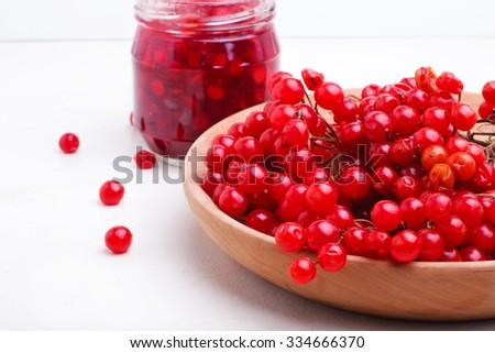 cranberry jam on a white background - stock photo