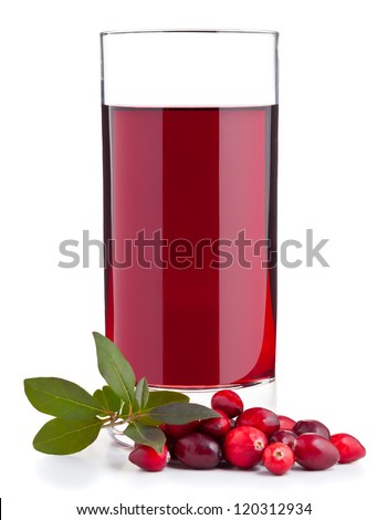 Cranberry juice with berries on table over white background - stock photo