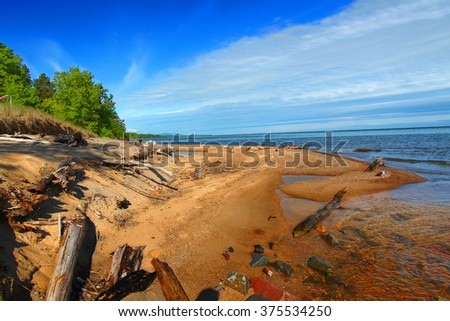 Cranberry River flows into Lake Superior in the upper peninsula of Michigan. - stock photo