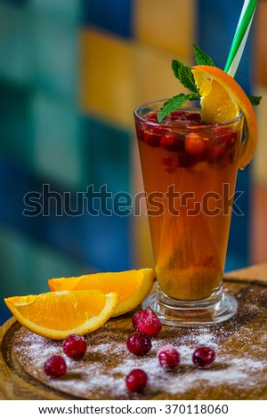 Cranberry tea with orange - hot and healthy vitamin drink . Excellent choice cold day . Delicious diet .