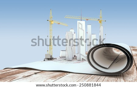 Crane and building in the drawings on the table. 3d illustration. - stock photo