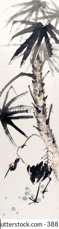 Crane and pine(Long life)-Traditional Chinese Painting. - stock photo