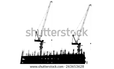 Crane are working built construction isolated on white background - stock photo