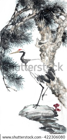 Crane bird(Chinese meaning: Longevity).Traditional chinese ink painting.