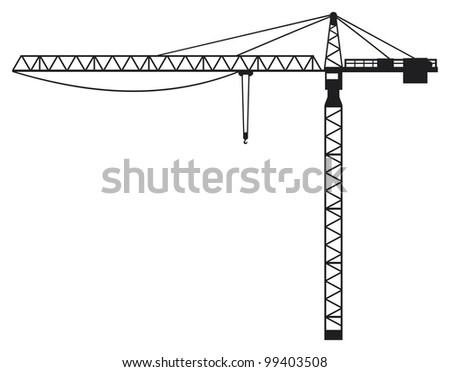 Crane (building crane, tower crane) - stock photo