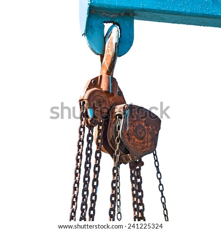 Crane chain and hook at the factory Isolated on white background. - stock photo