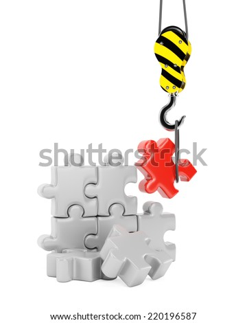 Crane hook and jigsaw puzzle. Construction concept isolated on white background. 3d rendering image