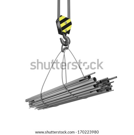 Crane hook and pipes on white isolated background. 3d - stock photo