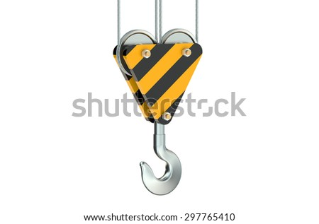 crane hook closeup isolated on white background