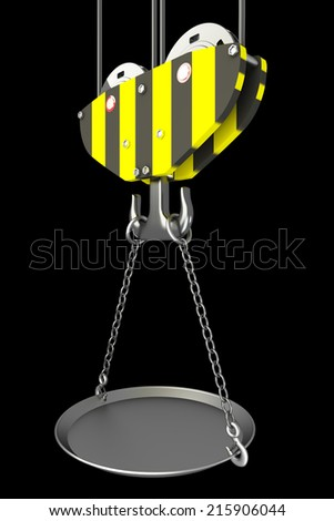 Crane hook, empty bowl. isolated on black background. 3d illustration - stock photo