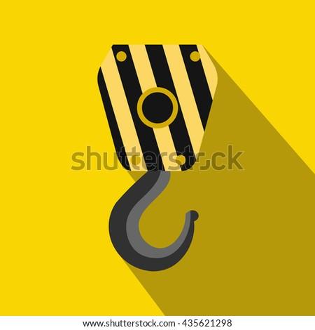 Crane hook icon, flat style - stock photo