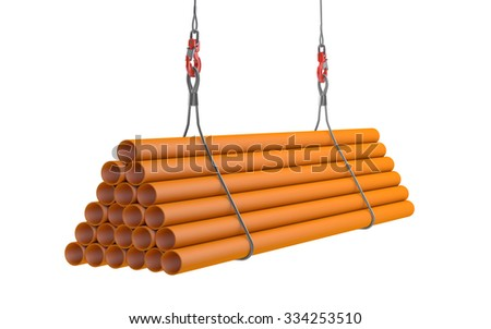 Crane hook lifting orange plasticl pipes isolated on white with clipping path - stock photo