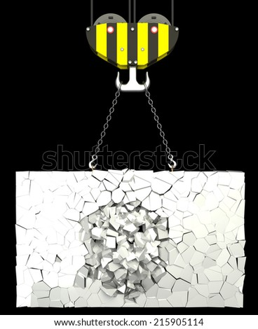 crane hook lifting shards of plate. isolated on black background. 3d illustration - stock photo