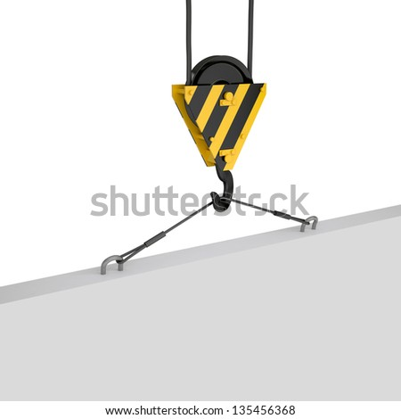 Crane hook lifts the white plate. Isolated render on a white background - stock photo