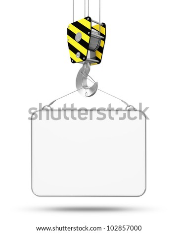 Crane Hook with Blank Board isolated on white background