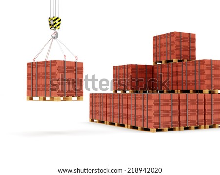Crane Hook with Stacked Red Bricks on a wooden Pallet isolated on white background
