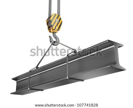 Crane hook  with steel girder 3D. Isolated on white background - stock photo