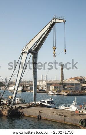 Crane in seaside  - stock photo