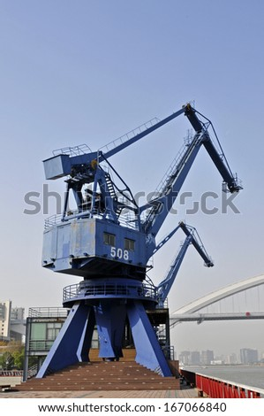 Crane in the industrial port in Shanghai, China