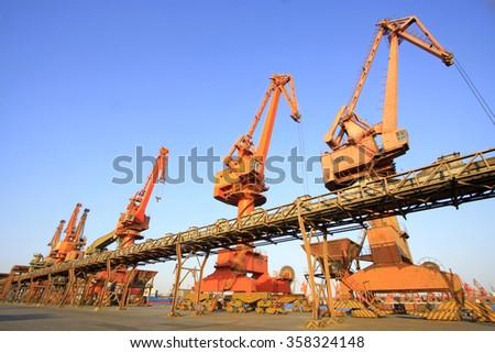 Crane in tianjin port freight terminal, on March 22, 2015, tianjin, China  - stock photo