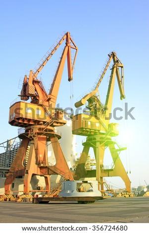 Crane in tianjin port freight terminal, tianjin port, tianjin, China  - stock photo