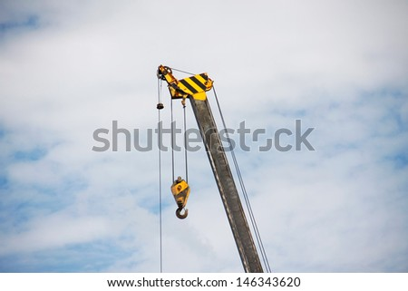 Crane is element of building structure, for take equipment to lift up that high - stock photo