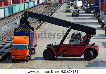 Crane lifter handling container box loading to truck in import export logistic zone