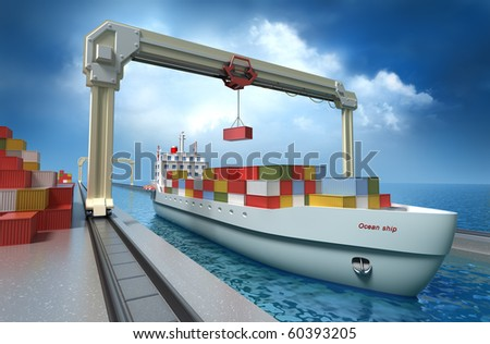 Crane lifting cargo container and loading the ship. My Own Design