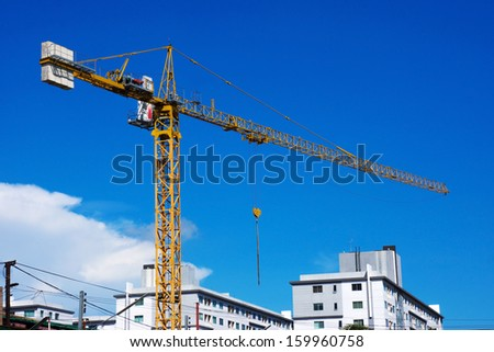 crane on construction site - stock photo