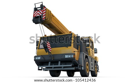 crane truck isolated on white background