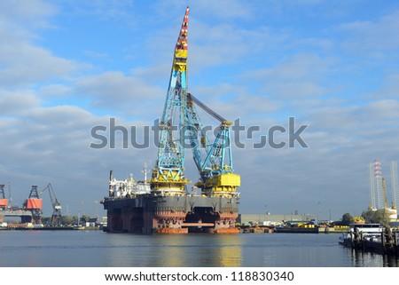 crane vessel for offshore platform installation - stock photo