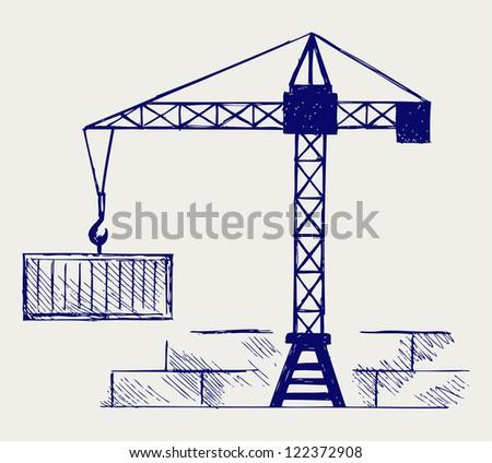 Crane working. Doodle style. Raster version - stock photo
