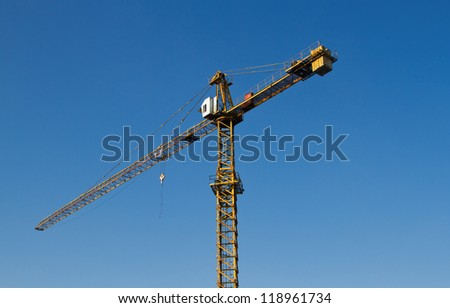 crane works at a building area , Industry construction - stock photo