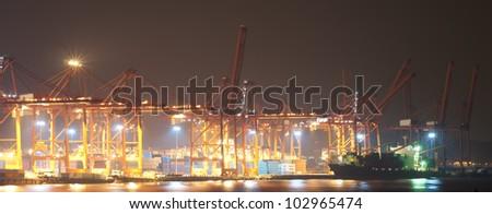 Cranes at the container port , Hong Kong - stock photo