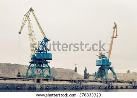 cranes at the shipyard - stock photo