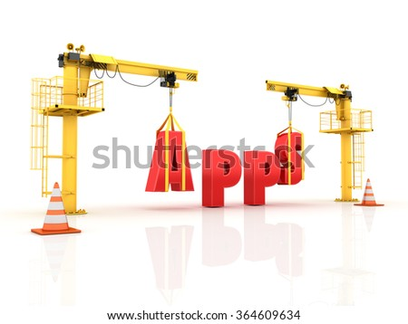 Cranes building the APPS Word - High Quality 3D Render  - stock photo