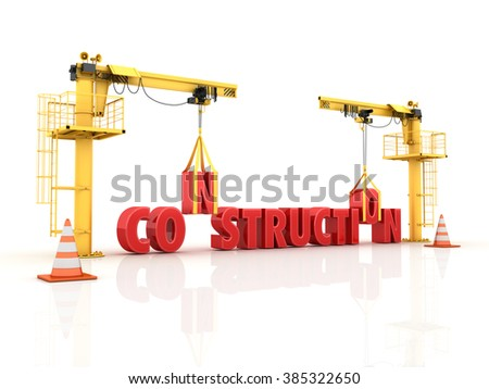 Cranes building the CONSTRUCTION Word - High Quality 3D Render  - stock photo