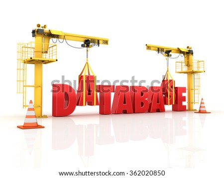 Cranes building the DATABASE  Word - High Quality 3D Render  - stock photo