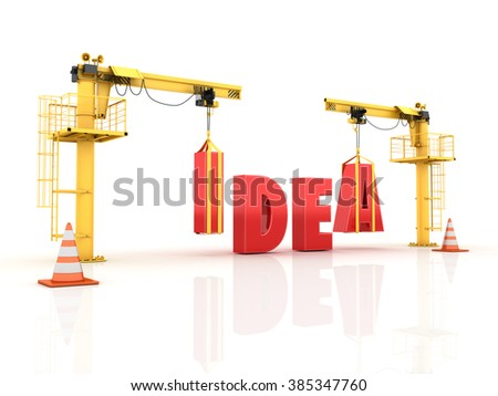 Cranes building the IDEA Word - High Quality 3D Render  - stock photo