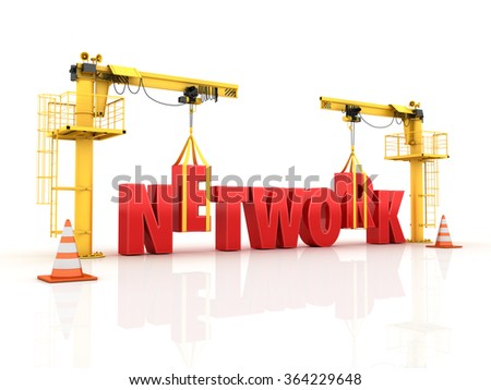 Cranes building the NETWORK Word - High Quality 3D Render  - stock photo